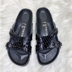 Tatami Birkenstock Black Slip On Sandals Embossed